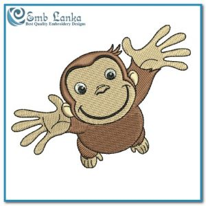Happy Cute Curious George Cartoon Monkey Embroidery Design