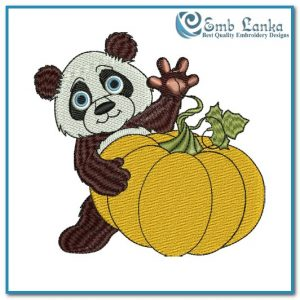 Cute Little Panda with Pumpkin Embroidery Design Animals Panda