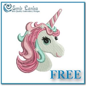 Animals Free Cute Unicorn Head Embroidery Design Horse