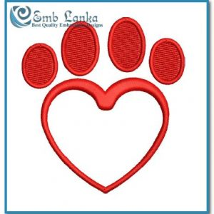 Animals Free Paw Print Heart Embroidery Design Heart