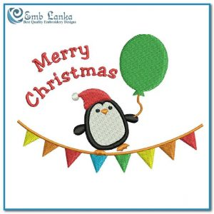 Free Penguin Merry Christmas Embroidery Design