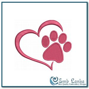 Animals Free Paw Print Heart 3 Embroidery Design Heart