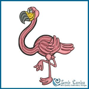 Cartoon Of Pink Flamingo Embroidery Design Birds