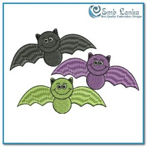 Birds Colorful Halloween Bats Embroidery Design [tag]