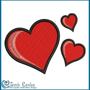 Three Red Hearts Embroidery Design