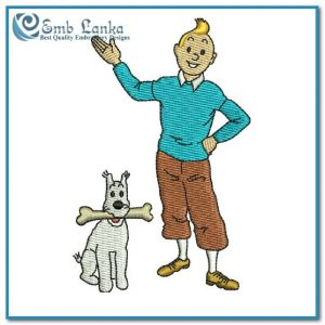 Tintin and Snowy Cartoon 3 Embroidery Design