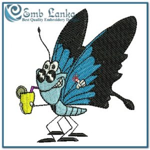 Butterflies A Thirsty Blue Butterfly Embroidery Design [tag]