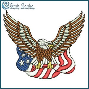 Animals American Bald Eagle Carrying The Flag Embroidery Design [tag]