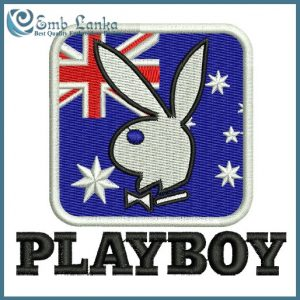 Australian Flag  and Playboy Bunny Logo Embroidery Design Animals
