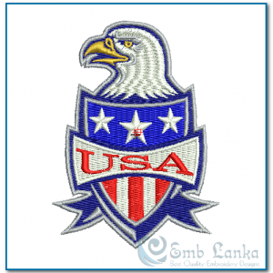 Bald Eagle And American Shield Embroidery Design Birds