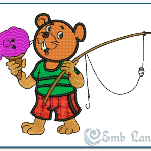Bear Going Fishing Embroidey Design Animals [tag]