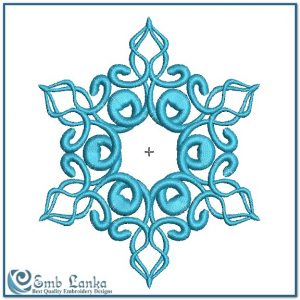 Beautiful Ornate Blue Icy Snowflake 2 Embroidery Design Christmas