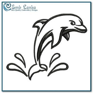Black Color Out Line Dolphin Embroidery Design Animals