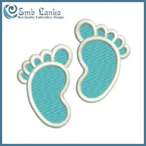 Blue Baby Feet Embroidery Design Cartoon