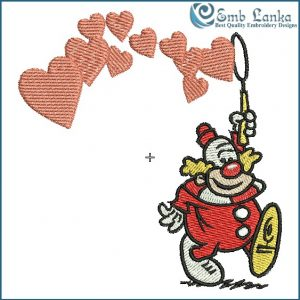 Clown Making Heart Bubbles Embroidery Design Cartoon