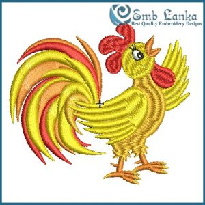 Crowing Orange And Red Rooster Embroidery Design Animals