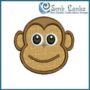 Cute Cartoon Monkey Face Embroidery Design Animals