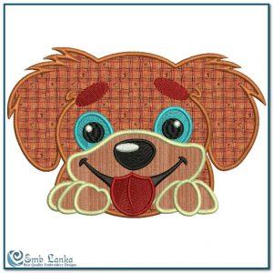 Cute Dog Face Applique Embroidery Design Animals