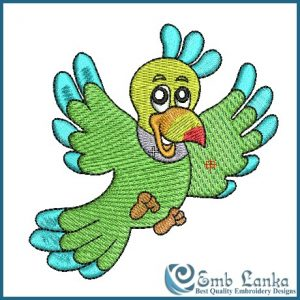 Cute Green Parrot Embroidery Design Birds