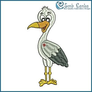Cute Grey Heron Embroidery Design Birds