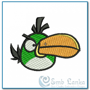 Green Angry Bird Embroidery Design Birds