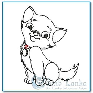 Happy Orange Kitten Run Stitch Embroidery Design Animals