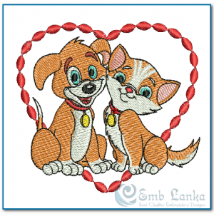 Happy Orange Puppy And Kitten Over A Red Heart Embroidery Design