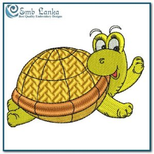 Happy Swimming Sea Turtle Embroidery Design