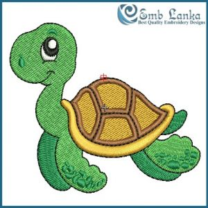 Happy Swimming See Turtle Embroidery Design Animals