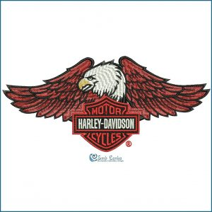 Harley Davidson Logo with Eagle Embroidery Design Birds
