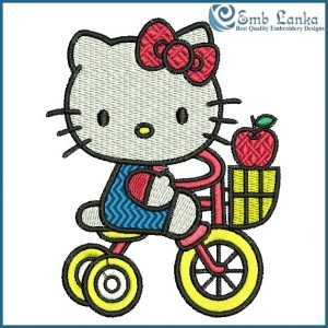 Hello Kitty Riding Tricycle Bike Embroidery Design