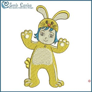 Kids With Rabbit Costume Embroidery Design
