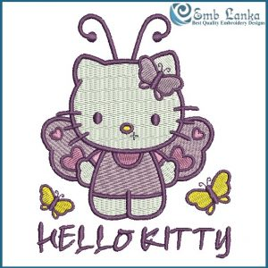 Purple Hello Kitty With Butterfly Embroidery Design Animals