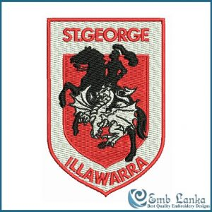St George Dragons Illawarra NRL Logo Embroidery Design Logos
