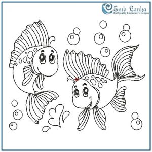 Two Outlined Happy Fish Playing Underwater Embroidery Design Animals