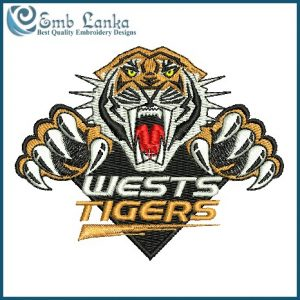Wests Tigers Rugby Team Logo Embroidery Design