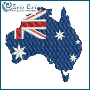 Flags Australian Map With Flag Embroidery Design [tag]