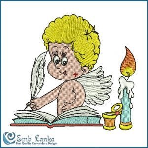 Blond Angel Signing A Wedding Book Embroidery Design Angels