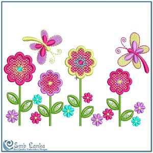 Applique Flowers and Butterflies Embroidery Design