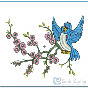 Blue Bird Landing On A Pink Flower Branch Embroidery Design Birds