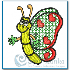 Butterflies Butterfliy with Hearts 2 Embroidery Design [tag]