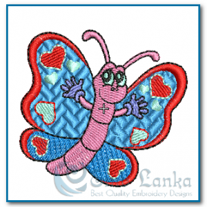 Butterfliy with Hearts Embroidery Design Butterflies