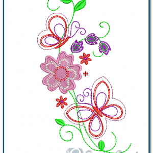 Butterfly & Flower Embroidery Design