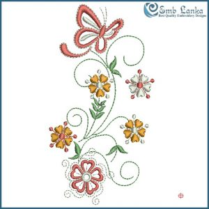 Flowers with Butterfly Embroidery Design Butterflies
