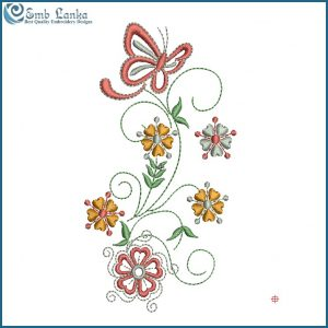 Pink Butterfly and Flowers Embroidery Design Butterflies