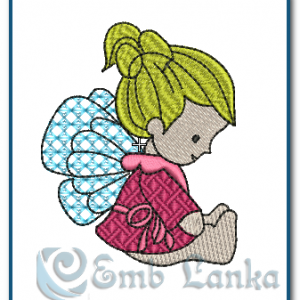 Sitting Baby Angel Embroidery Design Angels