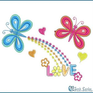 Two Butterflies With Love Word Embroidery Design Butterflies