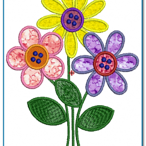 3 Applique Flowers Embroidery Design
