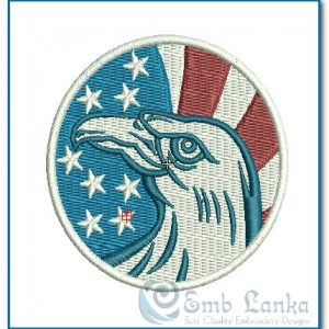 American Eagle And Flag Circle Logo Embroidery Design Birds
