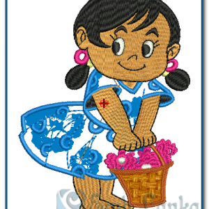 Girl Embroidery Design Appliques [tag]